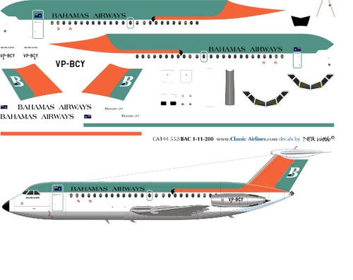 1/144 Scale Decal Bahamas Airways BAC-111