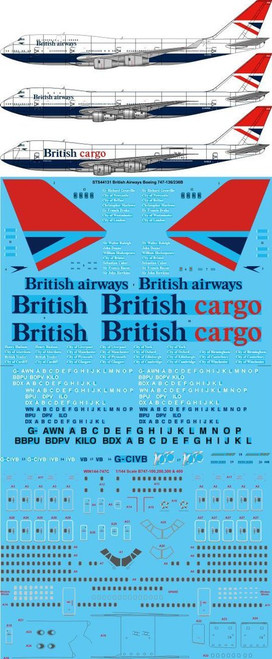 1/144 Scale Decal British Airways 747-100/200/400