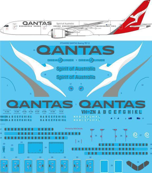 1/144 Scale Decal Qantas 787-9