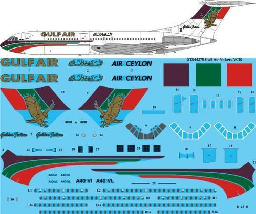 1/144 Scale Decal Gulf Air VC-10