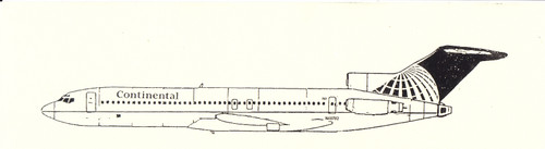 1/144 Scale Decal Continental 727-200