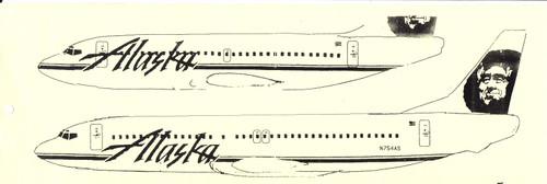 1/144 Scale Decal Alaska 737-200 / 400 1994 Livery