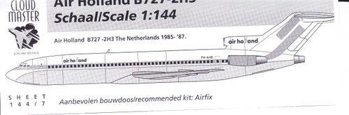 1/144 Scale Decal Air Holland 727-200