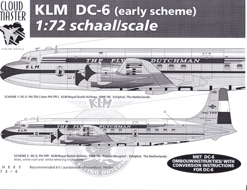 1/72 Scale Decal KLM DC-6 Early Livery