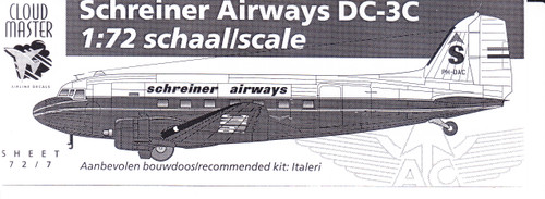 1/72 Scale Decal Schreiner Airways DC-3