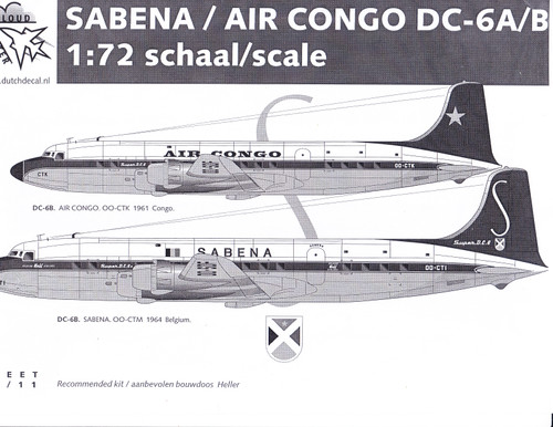 1/72 Scale Decal Sabena / Air Congo DC-6A/B