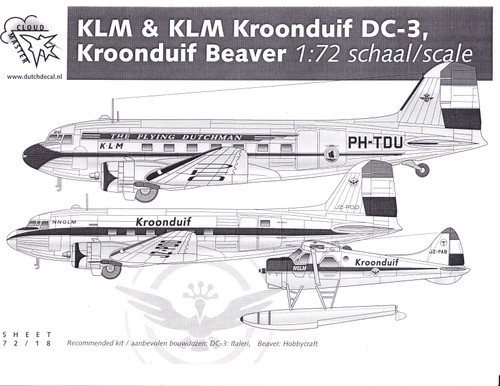 1/72 Scale Decal KLM / KROONDUIF / DC-3 / BEAVER