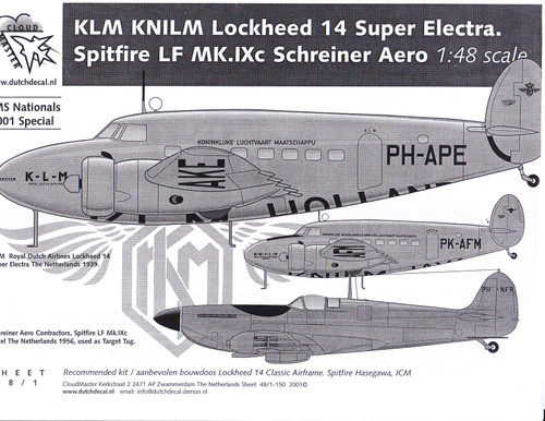 1/48 Scale Decal KLM Lockheed 14 Super Electra / Spitfire