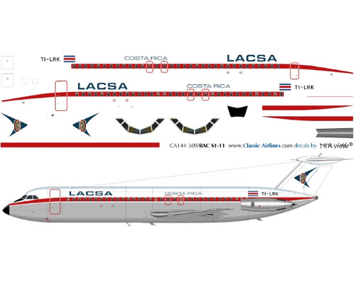 1/200 Scale Decal LACSA Bac-111 RED