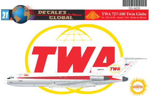 1/144 Scale Decal TWA 727-100 Twin Globes