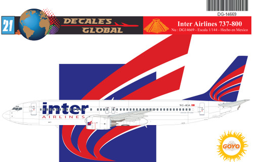 1/144 Scale Decal Inter Airlines 737-800