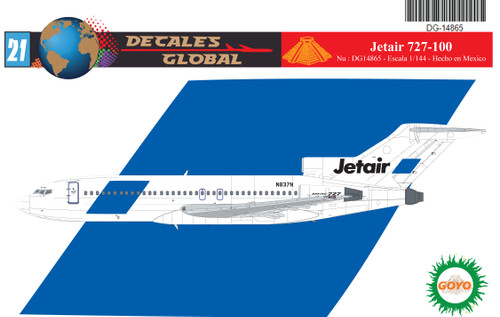 1/144 Scale Decal Jetair 727-100