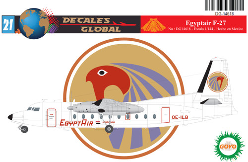 1/144 Scale Decal Egypt Air F-27