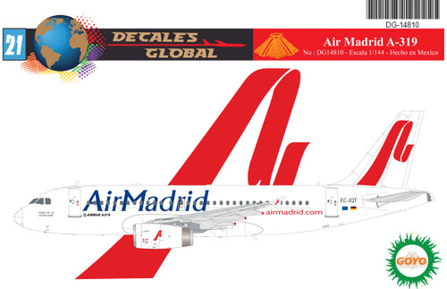 1/144 Scale Decal Air Madrid A-319