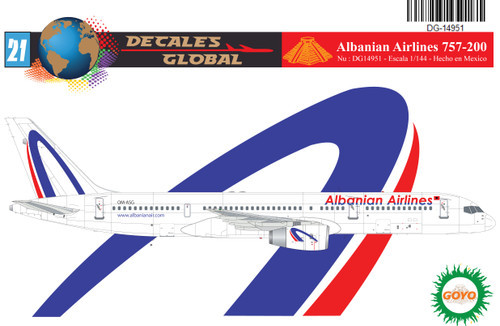 1/144 Scale Decal Albanian Airlines 757-200