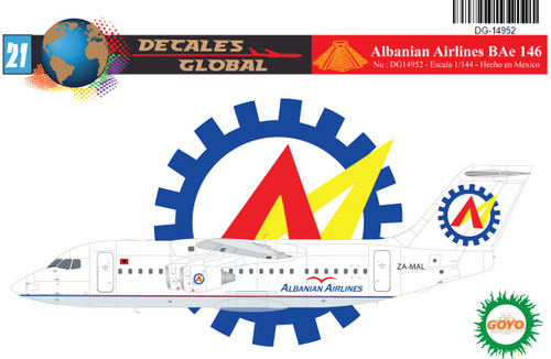 1/144 Scale Decal Albanian Airlines BAe 146-200