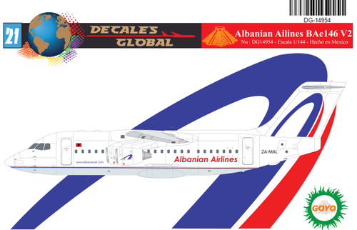 1/144 Scale Decal Albanian Airlines BAe146-200 V2