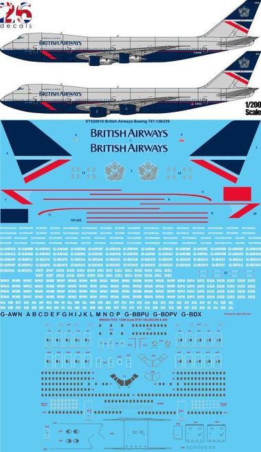 """1/200 Scale Decal British Airways """"Landor"""" Boeing 747-136 , 236"""