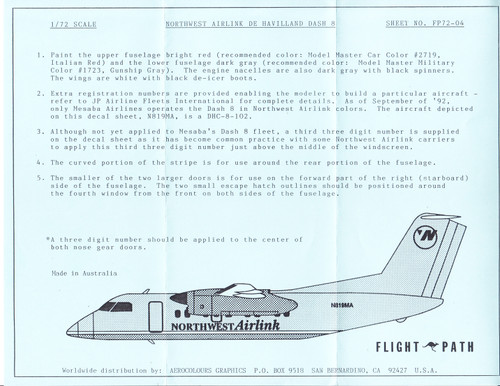 1/72 Scale Decal Northwest Airlink Dash-8