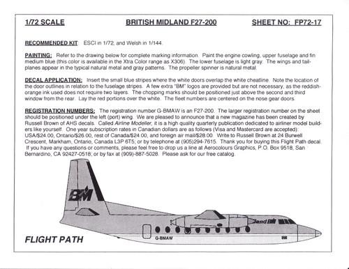 1/72 Scale Decal British Midland F-27