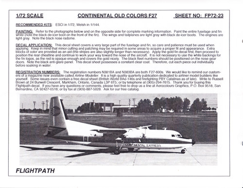 1/72 Scale Decal Continental F-27