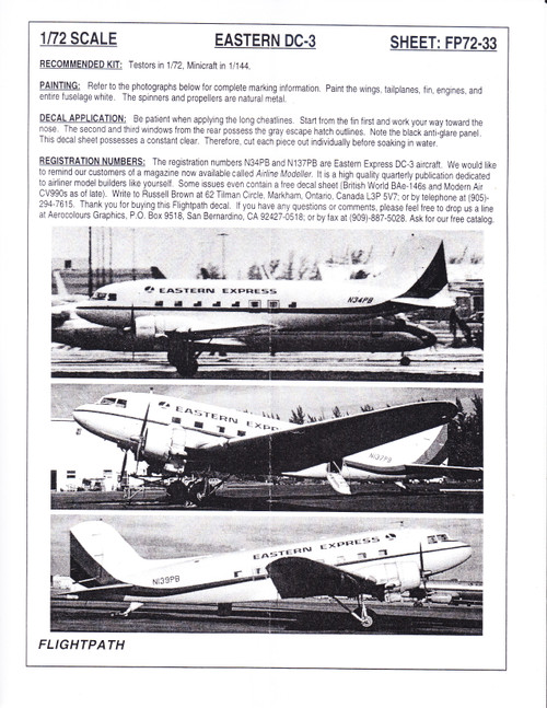 1/72 Scale Decal Eastern Express DC-3