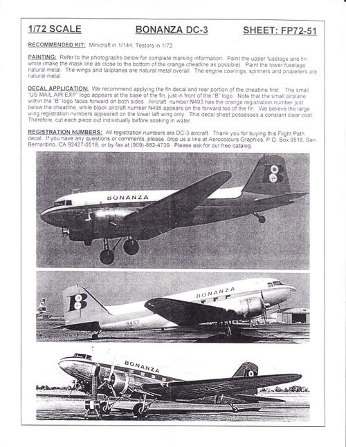 1/72 Scale Decal Bonanza DC-3