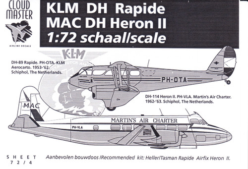 1/72 Scale Decal KLM Rapide / Martins Air Charter Heron