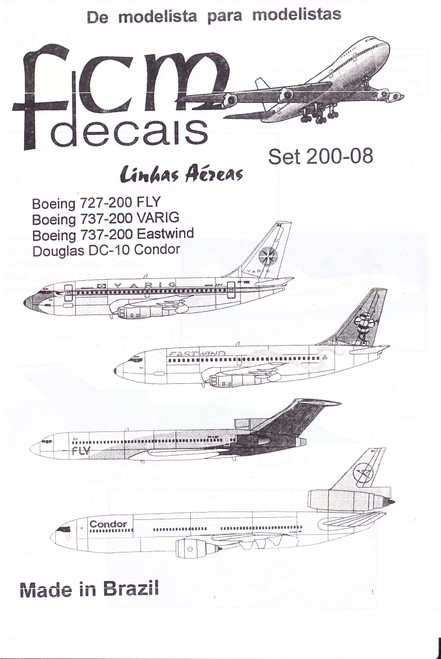 1/200 Scale Decal FLY 727-200 / Varig 737-200 / Eastwind 737-200 / Condor DC-10