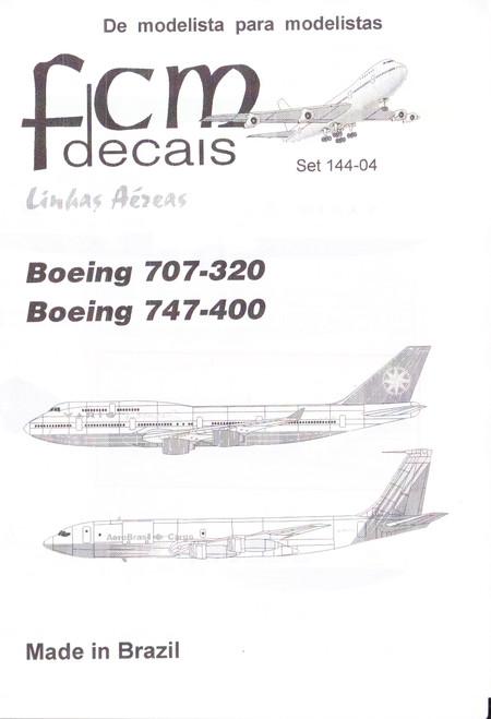 1/144 Scale Decal Varig 747-400 / AeroBrasil Cargo 707-320