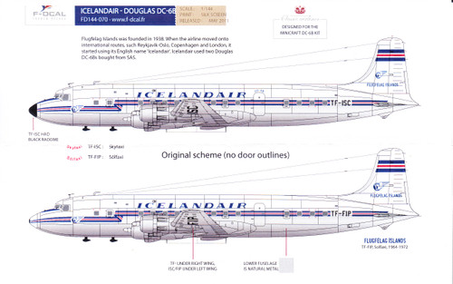 1/144 Scale Decal Icelandair DC-6B