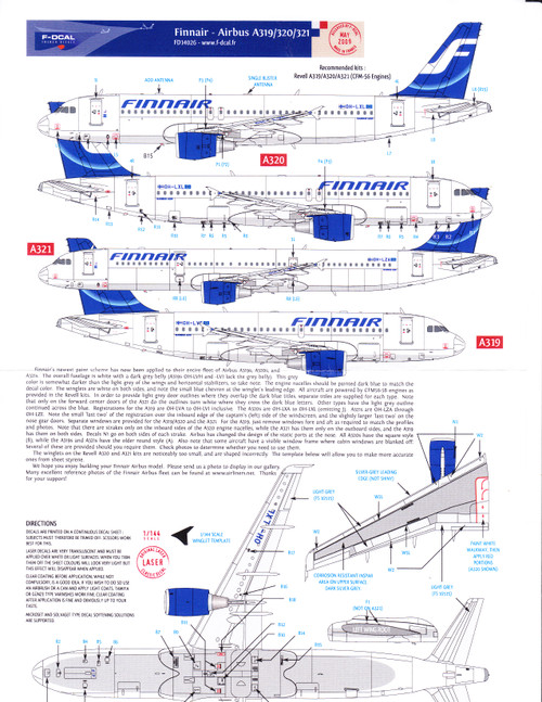 1/144 Scale Decal Finnair A-319 / A-320 / A-321