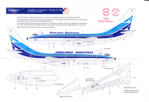1/144 Scale Decal Aerolineas Argentinas 737-200
