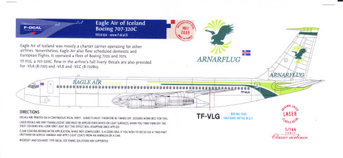 1/144 Scale Decal Eagle Air of Iceland 707-320C
