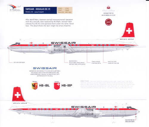 1/144 Scale Decal Swissair DC-7C