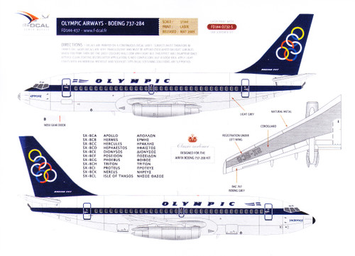 1/144 Scale Decal Olympic Airways 737-200