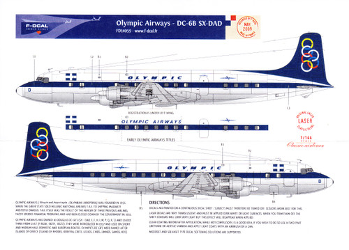 1/144 Scale Decal Olympic Airways DC-6B