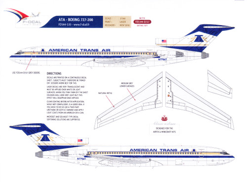 1/144 Scale Decal American Trans Air 727-200 w/ Detail Sheet