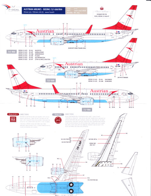 1/144 Scale Decal Austrian Airlines 737-600 / 800 w/ Detail Sheet