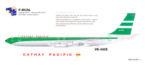 1/144 Scale Decal Cathay Pacific 707-351C