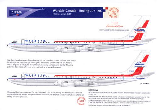 1/144 Scale Decal Wardair Canada 707-321C