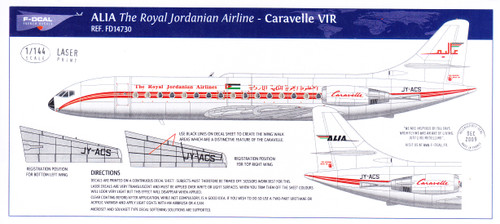 1/144 Scale Decal ALIA - The Royal Jordanian Airlines Caravelle