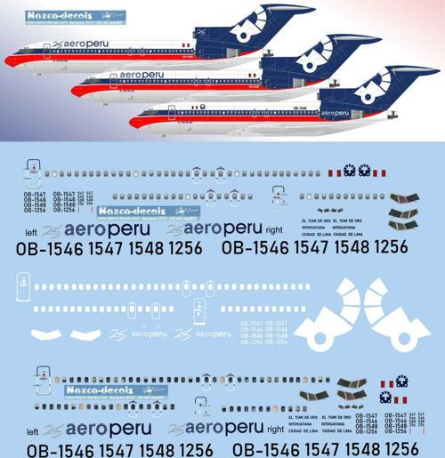 "1/144 Scale Decal Aero Peru 727-100 ""Aeromexico"" Livery  *includes upper set of windows* one set"