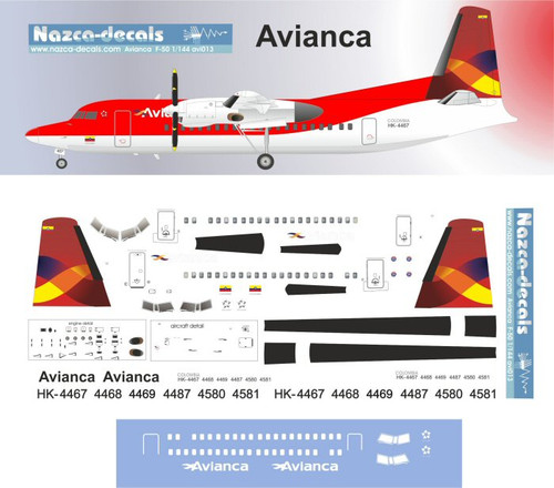 1/144 Scale Decal Avianca F-50
