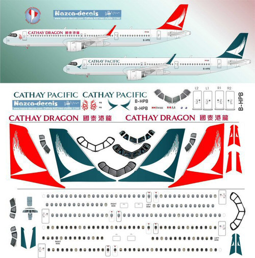 1/144 Scale Decal Cathay Pacific / Cathay Dragon A-321 NEO 2 Liveries