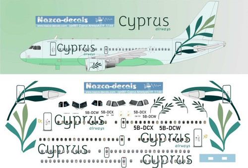 1/144 Scale Decal Cyprus Airways A-319