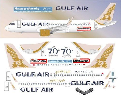 1/144 Scale Decal Gulf Air A-320 NEO 70th Anniversary