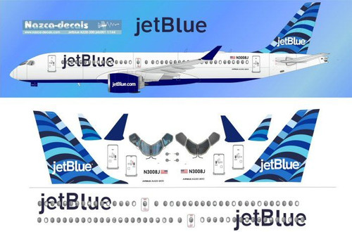 1/144 Scale Decal Jet Blue A-220