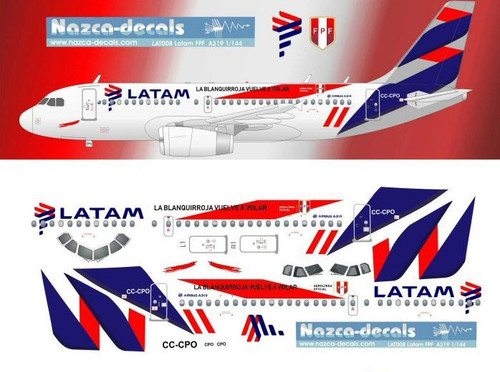 1/144 Scale Decal Latam A-319 FPF Livery