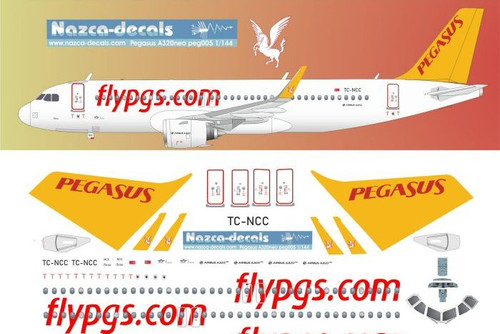 1/144 Scale Decal Pegasus A-320 NEO